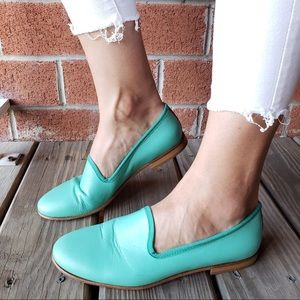 Del Toro Turquoise Leather Slip On Flats / Loafers